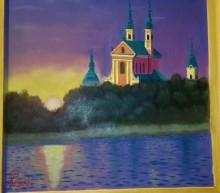 Obraz olejny pejzaż. Klasztor Wigry