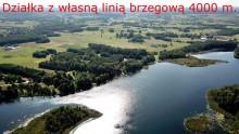 Działka z linią brzegową jeziora Dowcień, 4000 m2.