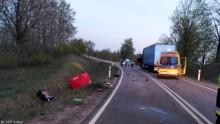 Grabowo-Banie Mazurskie. Motocyklista zginął w zderzeniu z ciężarówką [zdjęcia]