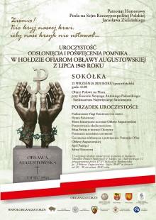 Odsłonięcie Pomnika Ofiar Obławy Augustowskiej w Sokółce