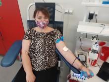 Klub Honorowych Dawców Krwi PCK przy WKU w Suwałkach. Pierwsza donacja