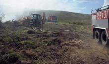 Pożar dużej łąki pod Gołdapią [zdjęcia]